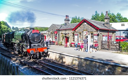 Oxenhope, Yorkshire, England, June 25 2018 The Royal Scot 46100, an LMS Scot class 4-6-0 loco.on loan to Worth Valley Railway, in Oxenhope station used in the film The Railway Children