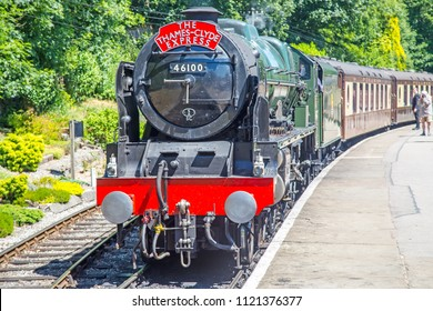Oxenhope, Yorkshire, England, June 25 2018 The Royal Scot 46100, an LMS Scot class 4-6-0 loco built in Derby 1930.  On loan to Worth Valley Railway on their 50th anniversary