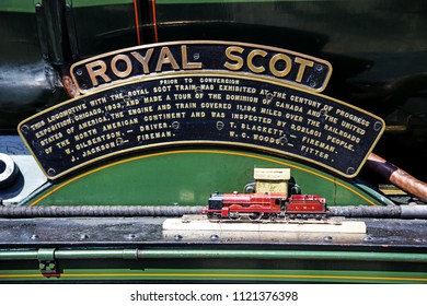 Oxenhope, Yorkshire, England, June 25 2018 Royal Scot 4-6-0 loco This plaque commemorates its trip to the the Century of Progress Exposition, in Chicago in 1933 and its subsequetour of Canada & the US