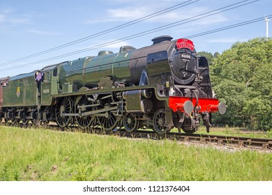 Oxenhope, Yorkshire, England, June 25 2018 The Royal Scot, 46100 an LMS Scot class 4-6-0 loco ' The Thames Clyde Express', on loan to Worth Valley Railway for their 50th anniversary