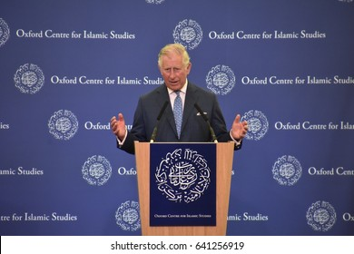 Oxford - 15 May 2017: HRH The Price of Wales, Prince Charles delivering his remarks at the Inauguration ceremony of the Oxford Centre for Islamic Studies in Oxford, UK.