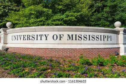 OXFORD, AS/USA - JUNE 7, 2018: Entrance sign and logo to the campus of the University of Mississippi.