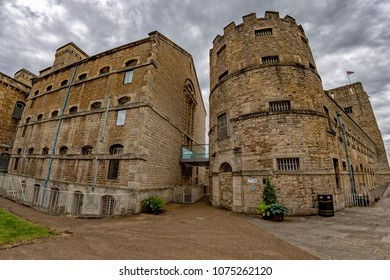 Oxford castle on cloudy sky background