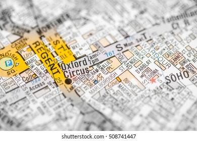 Oxford Circus. London, UK map.