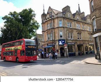 Oxford city centre, Oxford, UK - 28th June 2018: Exploring campus of Oxford and its colleges on a summer day.  Conceptual image of education and touris