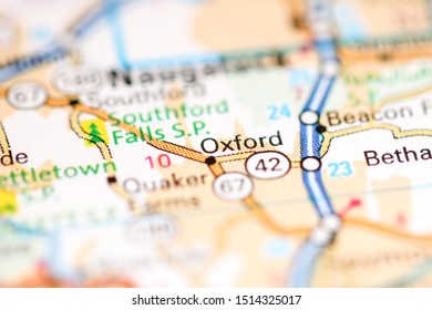 Oxford. Connecticut. USA on a geography map