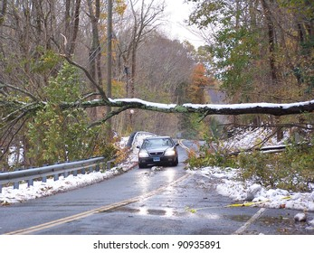 OXFORD, CT USA - OCTOBER 30 - Storm Alfred slams Oxford, Connecticut and the entire East Coast on October 30, 2011. It was the first snowfall of the season.