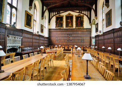 Oxford, England - Aug 2016: Empty mess hall at the prestigious Magdalen College.