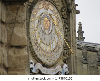 Oxford, England: Aug 2018 -Sundial, All Souls College, Oxford UK