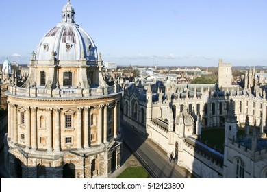 Oxford, England - Jan 3, 2010: High angle view of Radcliffe Camera in Oxford. View from University church. It is a building of Oxford University house of the Radcliffe Science Library.