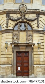OXFORD / ENGLAND - JULY 01 2016: Facade of Sheldonian Theatre, University of Oxford.