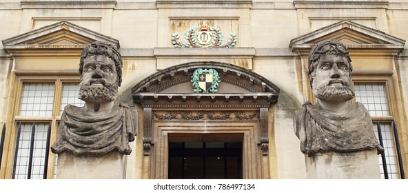 OXFORD / ENGLAND - JULY 01 2016: Busts at Facade of Museum of the History of Science.