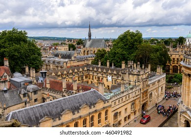 OXFORD, ENGLAND  - JULY 10, 2016: Aerial view of Oxford, England. Oxford is known as the home of the University of Oxford