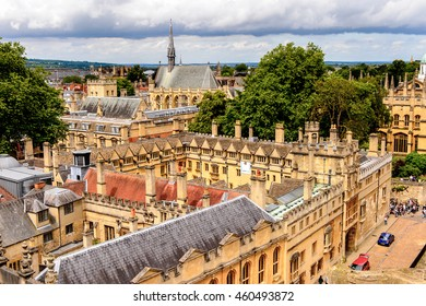 OXFORD, ENGLAND  - JULY 10, 2016: Aerial view of Brasenose College, Oxford, England. Oxford  is known as the home of the University of Oxford
