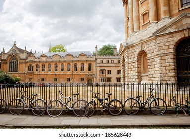 OXFORD, ENGLAND - JULY 26: Bicycles in front of Radcliffe Camera in Oxford, Oxford University, England on July 26, 2013