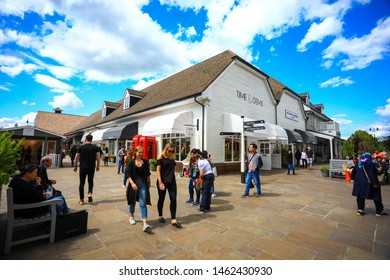 Oxford, England - June 08, 2019 : Bicester Village is an outlet shopping centre on the outskirts of Bicester, a town in Oxfordshire.