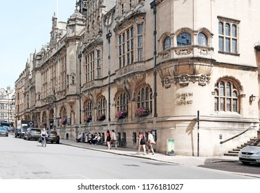 OXFORD, ENGLAND - JUNE 24, 2018: Facade of the Museum of Oxford in St Aldate's, Oxford. The Museum opened in 1975 covers the history of the City and University of Oxford.