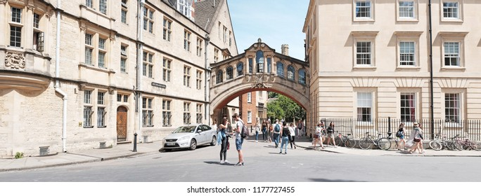 OXFORD, ENGLAND - JUNE 24, 2018: Facade of the Bridge of Sighs, Hertford College in New College Lane, Oxford. The bridge completed in 1914 with its distinctive design makes it an Oxford city landmark.