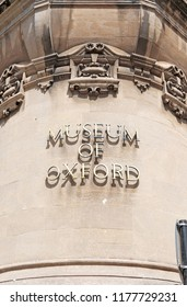 OXFORD, ENGLAND - JUNE 24, 2018: Facade of the Museum of Oxford signage in St Aldate's, Oxford. The Museum opened in 1975 covers the history of the City and University of Oxford.