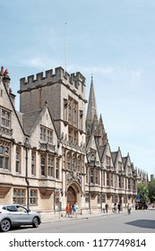 OXFORD, ENGLAND - JUNE 24, 2018: Facade of the Brasenose College entrance in High Street, Oxford. Brasenose College founded in 1509 is a constituent colleges of the University of Oxford.