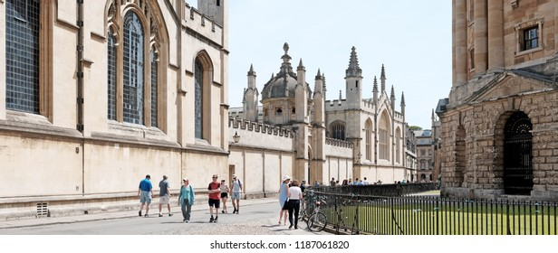 OXFORD, ENGLAND - JUNE 24, 2018: Panoramic view of the Bodleian Library from Radcliffe Square, Oxford. The library established in 1602 is Oxford University main research library.