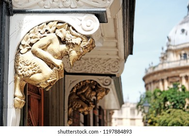 OXFORD, ENGLAND - JUNE 24, 2018: Vintage faun sculptures of Brasenose College in St Mary's Passage, Oxford. The sculpture is famed to have inspired CS Lewis's character in the Narnia Chronicles.