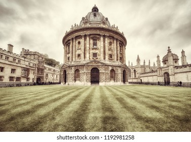 OXFORD, ENGLAND – MAY 15, 2009: The sepia image of Radcliffe Camera, that was built to house Science library and now serving as reading room for the Bodleian library. Oxford University. England