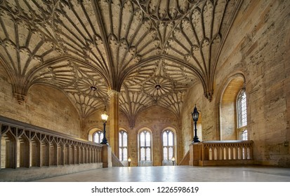 OXFORD, ENGLAND - MAY 15, 2009: The interior of Bodley Tower. The vaulted passageway to the Ante-Hall. Christ Church. Oxford University. England