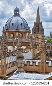 OXFORD, ENGLAND - MAY 15, 2009: The view of Radcliffe Camera dome and the spire of University Church of St Mary the Virgin from the cupola of Sheldonian Theatre. Oxford University. England