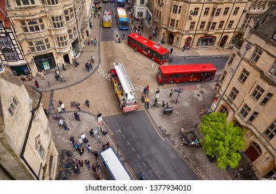 OXFORD, ENGLAND - MAY 15, 2009: View from the Carfax Tower to the crossroads of St Aldate's, Cornmarket, Queen and High streets which is considered to be the center of city. Oxford University. England