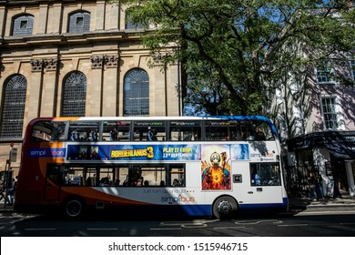 OXFORD, ENGLAND September 2019: borderlands 3 game advertisement on stagecoach bus
