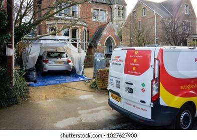 Oxford England UK 02/16/2018: Autoglass body repair