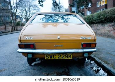 Oxford England UK 02/16/2018: British Leyland Morris Marina 1.8 Coupe