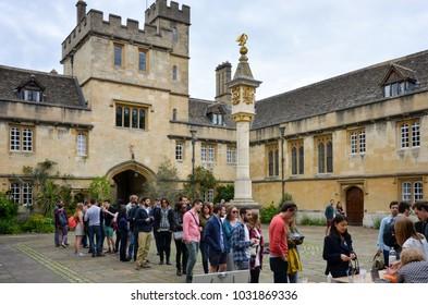 Oxford England UK 05/22/2016: Corpus Christi College, Oxford University Tortoise fair
