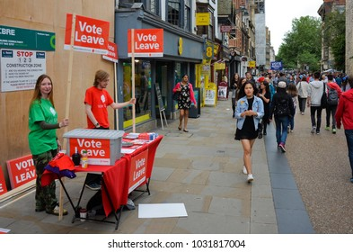 Oxford England UK 06/19/2016: Brexit referendum canvassers Cornmarket Street Oxford