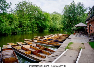 Oxford, England, UK - 2 July 2019: boats parking at the river side for tourist, visitor punting on river Cherwell, the river flowing through Oxford University.