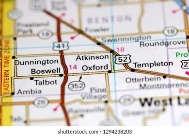 Oxford. Indiana. USA on a map