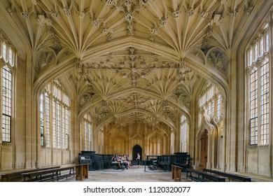 Oxford, JUL 9: Interior view of the Divinity School on JUL 9, 2017 at Oxford, United Kingdom