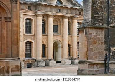 OXFORD - JULY 2009: The  neoclassical style Clarendon building was built in 1711 to house the Oxford University Press, and is now used for administrative offices.