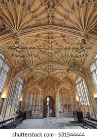 OXFORD - JULY 2013:   The ornate vaulted ceiling of the Divinity School is one of the highlights of the Bodleian Library, as seen in Oxford circa 2013.