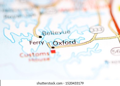 Oxford. Maryland. USA on a geography map