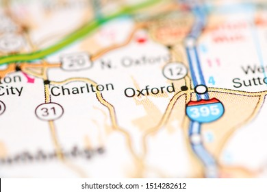 Oxford. Massachusetts. USA on a geography map
