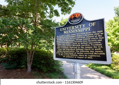 OXFORD, MS/USA - JUNE 7, 2018: Mississippi Freedom Trail on the campus of the University of Mississippi.