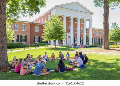 OXFORD, MS/USA - JUNE 7, 2018: Unidentified individuals gathered on the campus of the University of Mississippi.