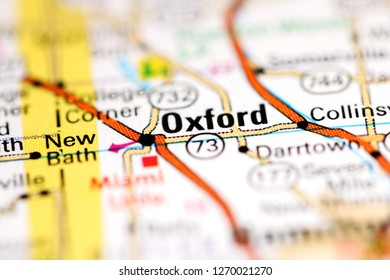 Oxford. Ohio. USA on a geography map
