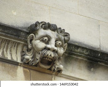 Oxford, Oxfordshire, England: Aug 2018 - Close-up of the gargoyles at the Bodleian Library,  England, United Kingdom, Europe