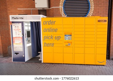 Oxford, Oxfordshire, UK 06 24 2020 A photo me booth and an Amazon locker point in Oxford in the UK