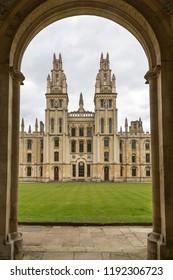 Oxford, Oxon, England - April 18 2016 :  The quadrangle of All Souls University College