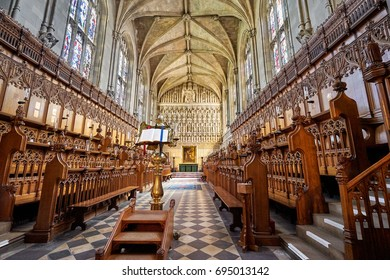 OXFORD - SEPTEMBER 1: The majestic Chapel & Choir at Magdalen College. Magdalen is one of the four choral foundations in Oxford. September 1 2016 in Oxford, England, UK