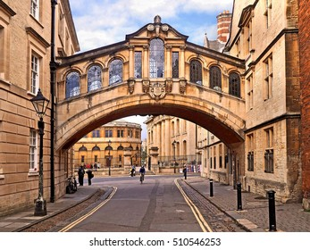 OXFORD - SEPTEMBER 2016:  The Bridge of Sighs is one of the most elegant and widely recognized architectural symbols of the ancient University as seen in Oxford circa 2016.